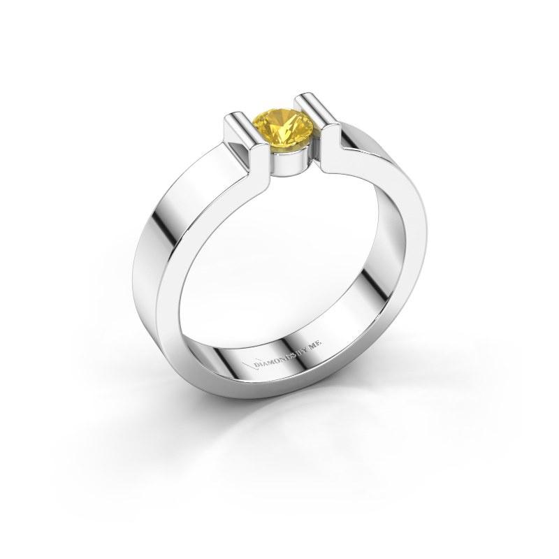Verlovingsring Isabel 1 925 zilver gele saffier 4 mm