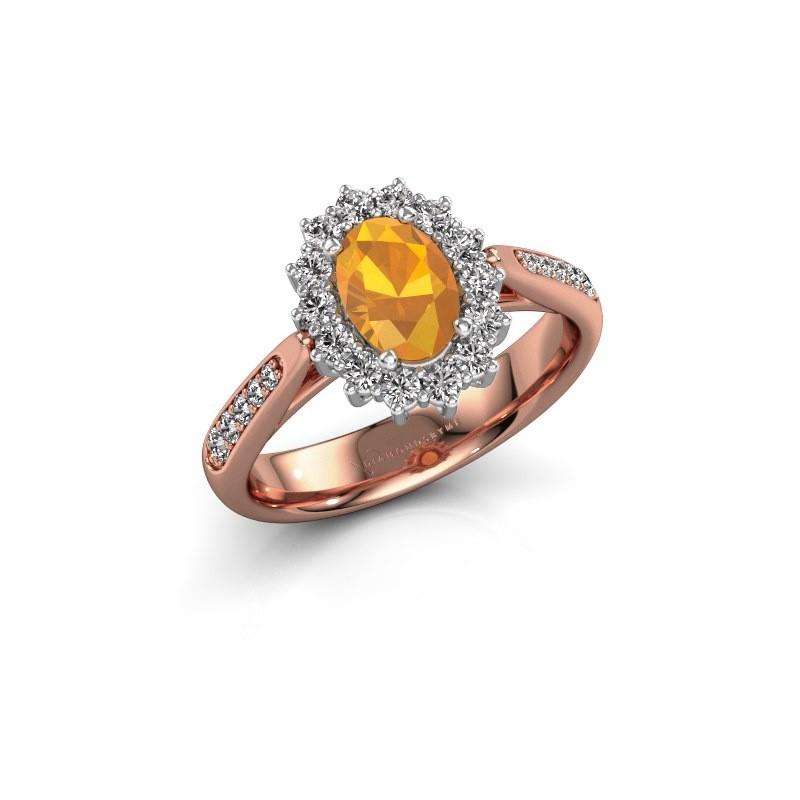 Engagement ring Margien 2 585 rose gold citrin 7x5 mm