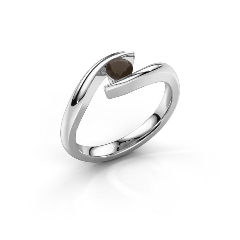 Engagement ring Alaina 585 white gold smokey quartz 4 mm