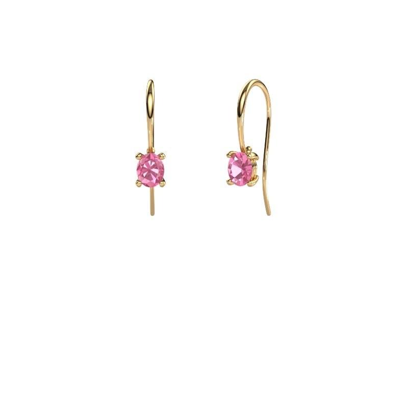 Oorhangers Cleo 585 goud roze saffier 6x4 mm