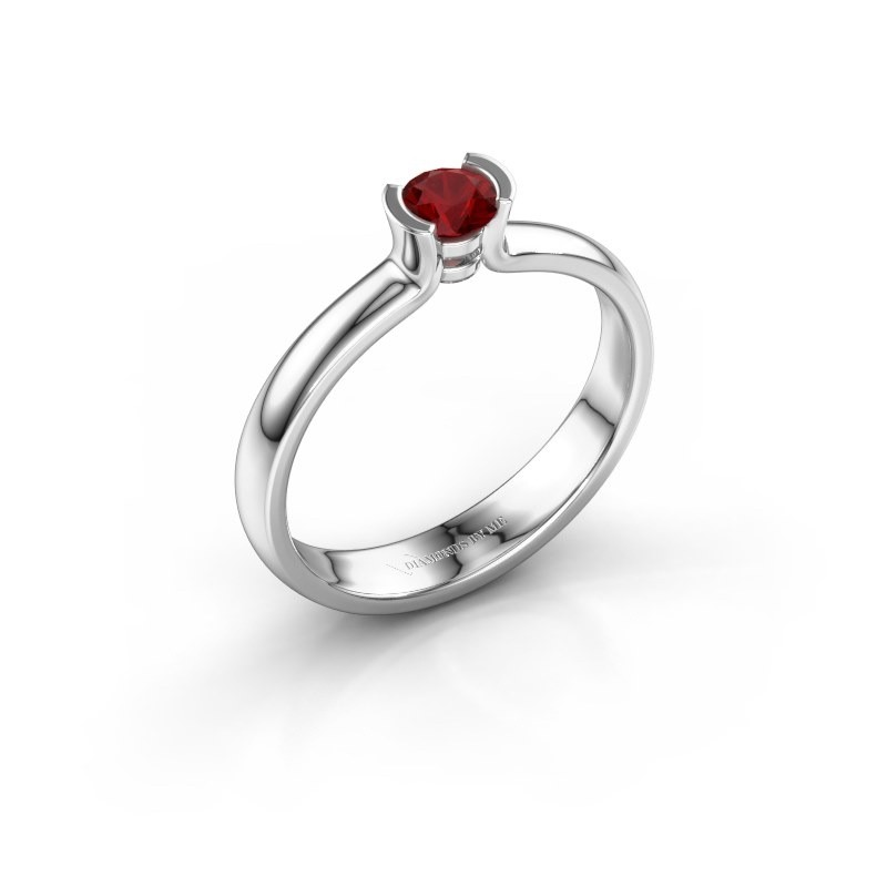 Engagement ring Ophelia 585 white gold ruby 4 mm