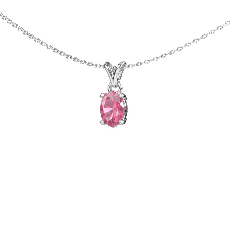 Ketting Lucy 1 585 witgoud roze saffier 7x5 mm