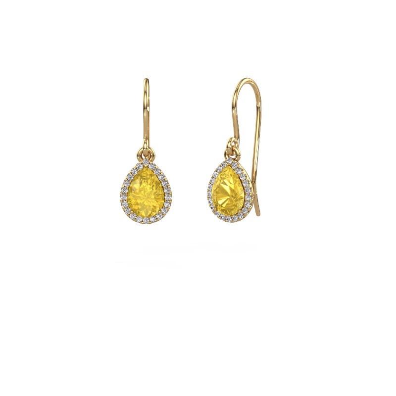 Ohrhänger Seline per 585 Gold Gelb Saphir 7x5 mm