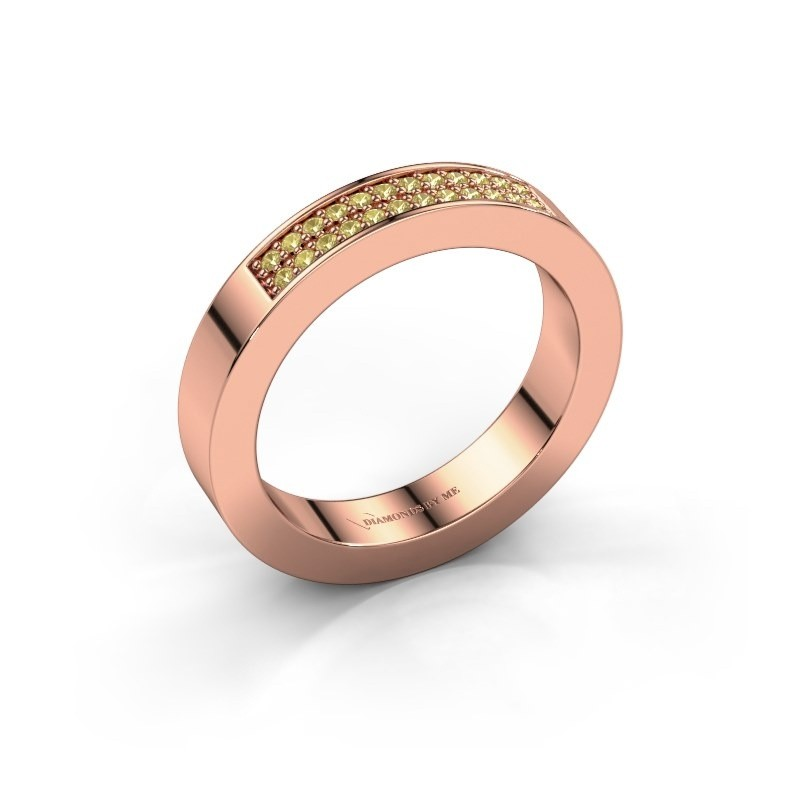 Stackable ring Catharina 1 375 rose gold yellow sapphire 1.1 mm