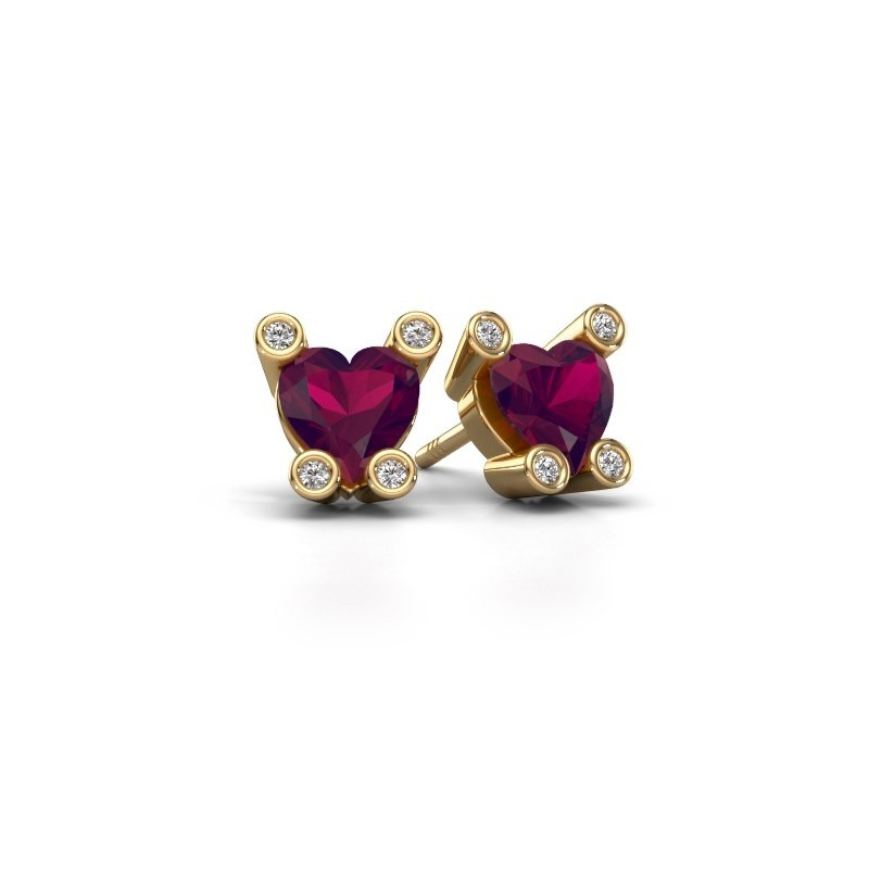 Oorstekers Cornelia Heart 585 goud rhodoliet 6 mm