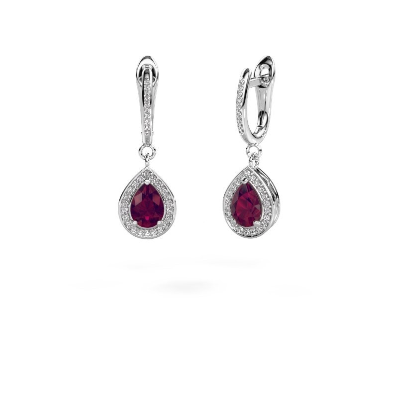 Pendants d'oreilles Ginger 2 585 or blanc rhodolite 7x5 mm