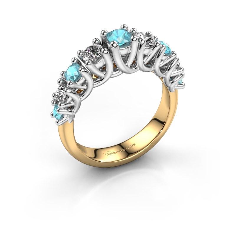 Engagement ring Fatima 585 gold blue topaz 3.7 mm