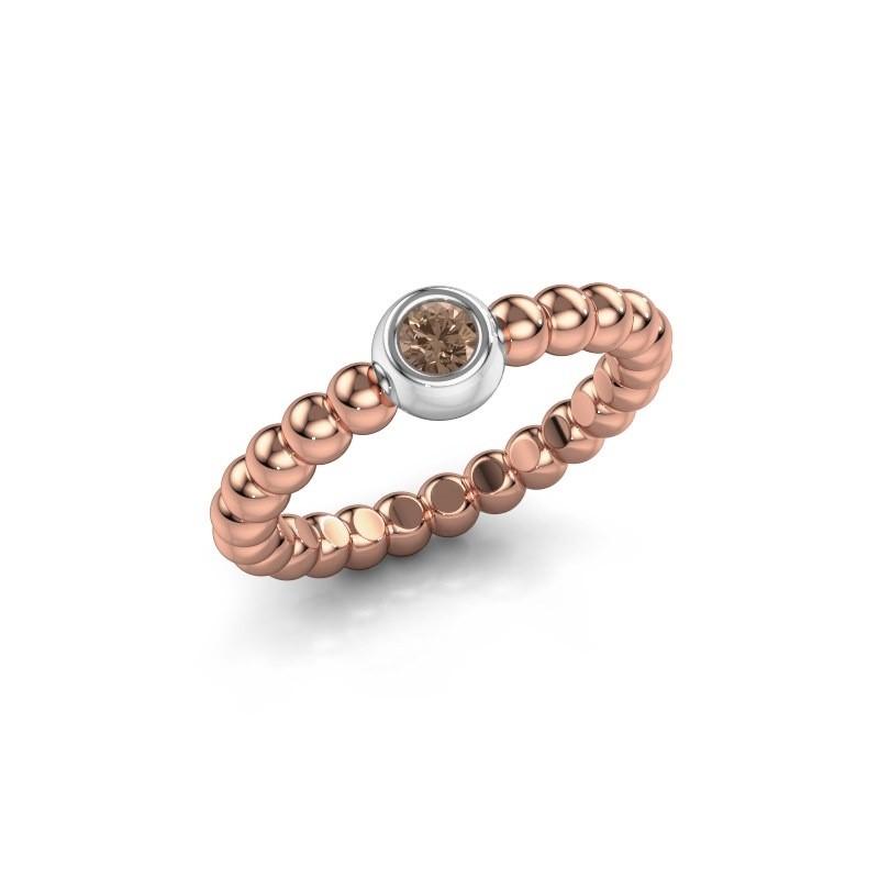 Aanschuifring Dini 585 rosé goud bruine diamant 0.10 crt