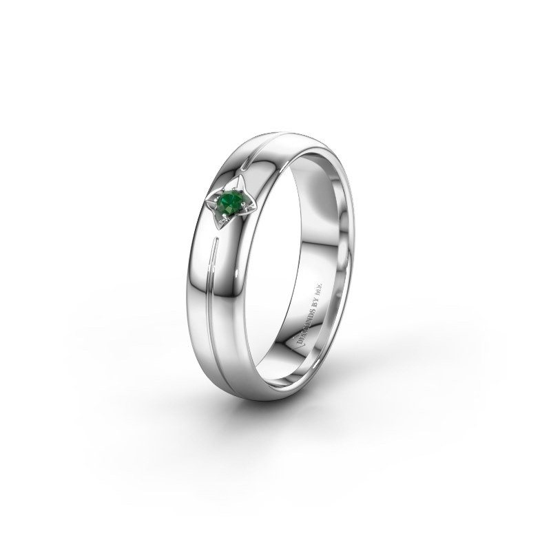 Wedding ring WH0221L35X 950 platinum emerald ±0.20x0.06 in