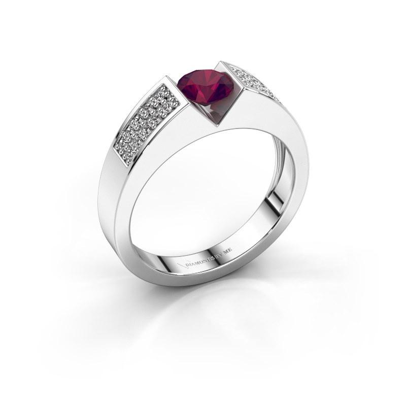 Engagement ring Lizzy 3 950 platinum rhodolite 5 mm