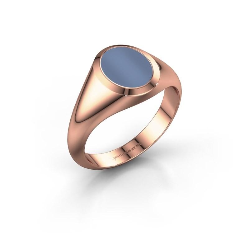 Zegelring Herman 1 F 375 rosé goud licht blauwe lagensteen 10x8 mm