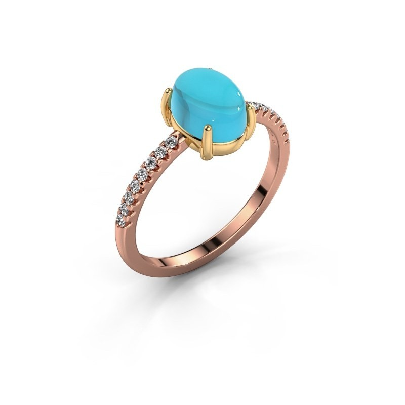 Ring Becky 585 rosé goud blauw topaas 8x6 mm