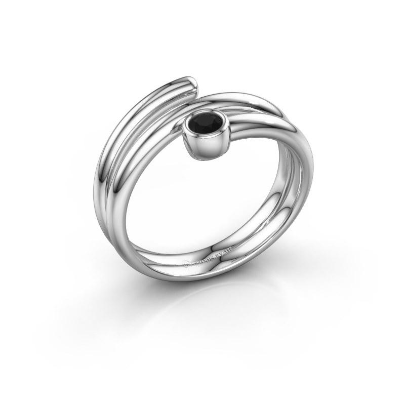Ring Jenna 925 zilver zwarte diamant 0.12 crt