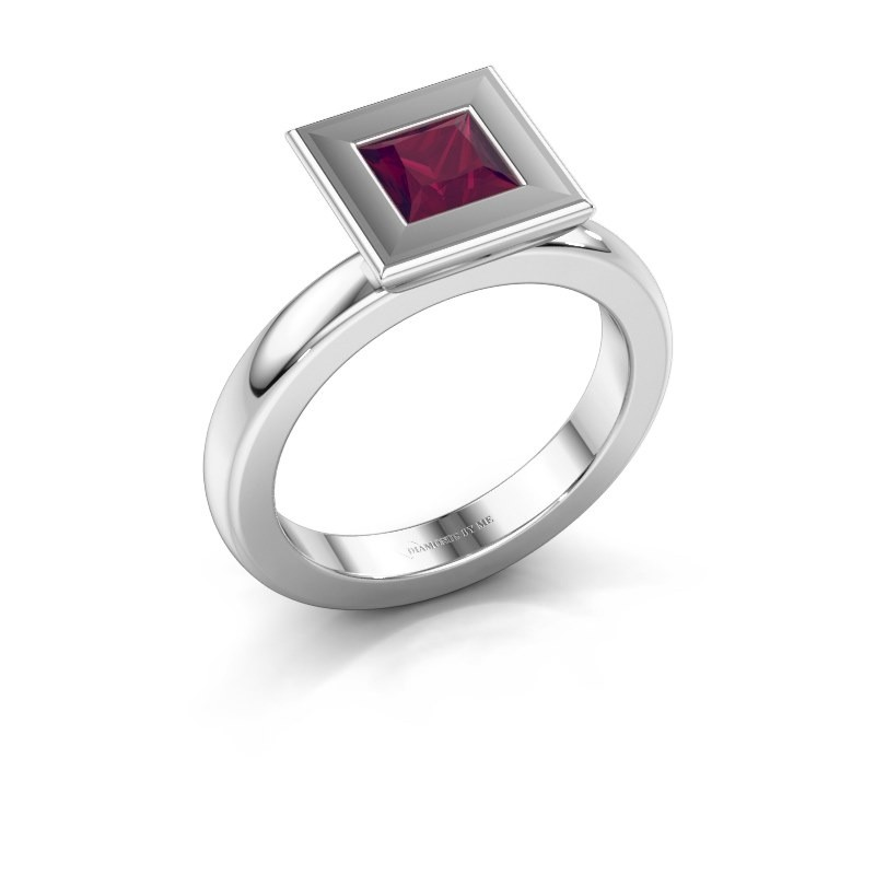 Stapelring Eloise Square 585 witgoud rhodoliet 5 mm