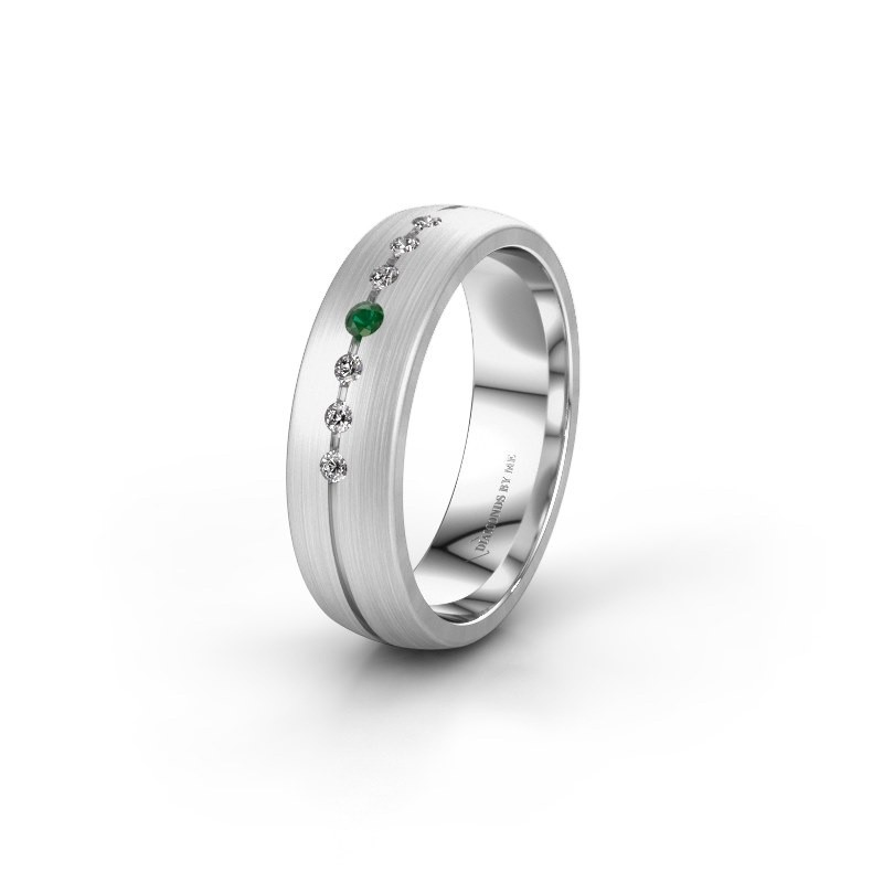 Wedding ring WH0162L25A 950 platinum emerald ±0.22x0.07 in