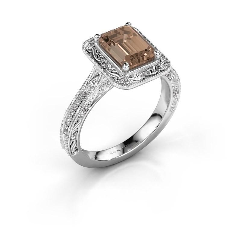 Verlovings ring Alice EME 950 platina bruine diamant 1.255 crt