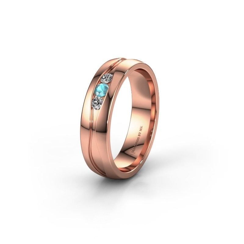 Wedding ring WH0172L25A 375 rose gold blue topaz ±5x1.7 mm