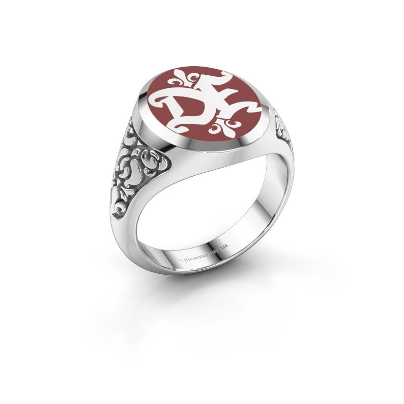 Monogram ring Brian Emaille 375 witgoud rode emaille