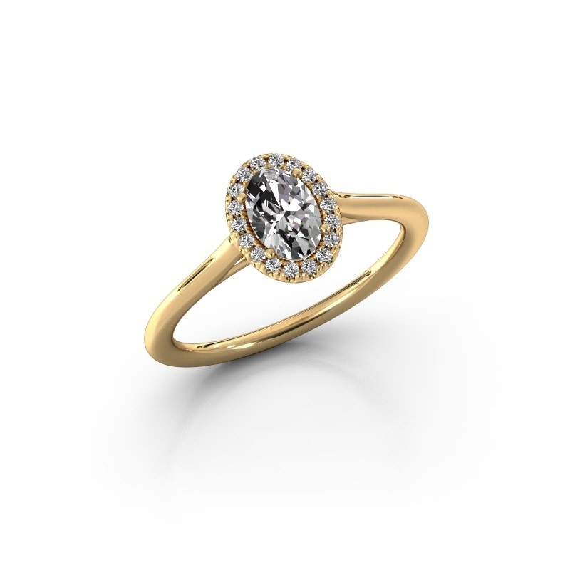 Engagement ring Seline 1 375 gold zirconia 6x4 mm