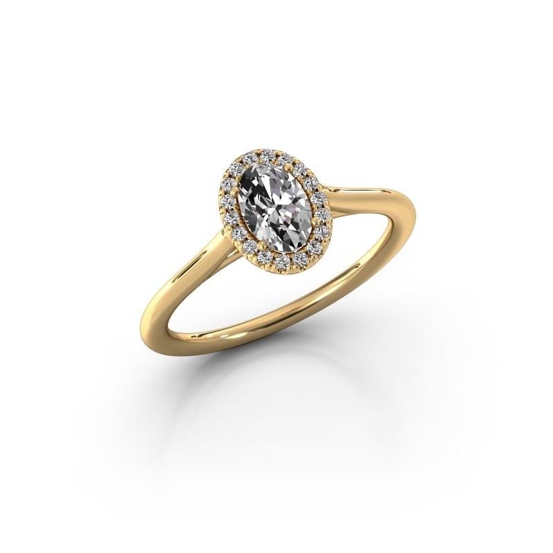Engagement ring Seline 1 750 gold zirconia 6x4 mm