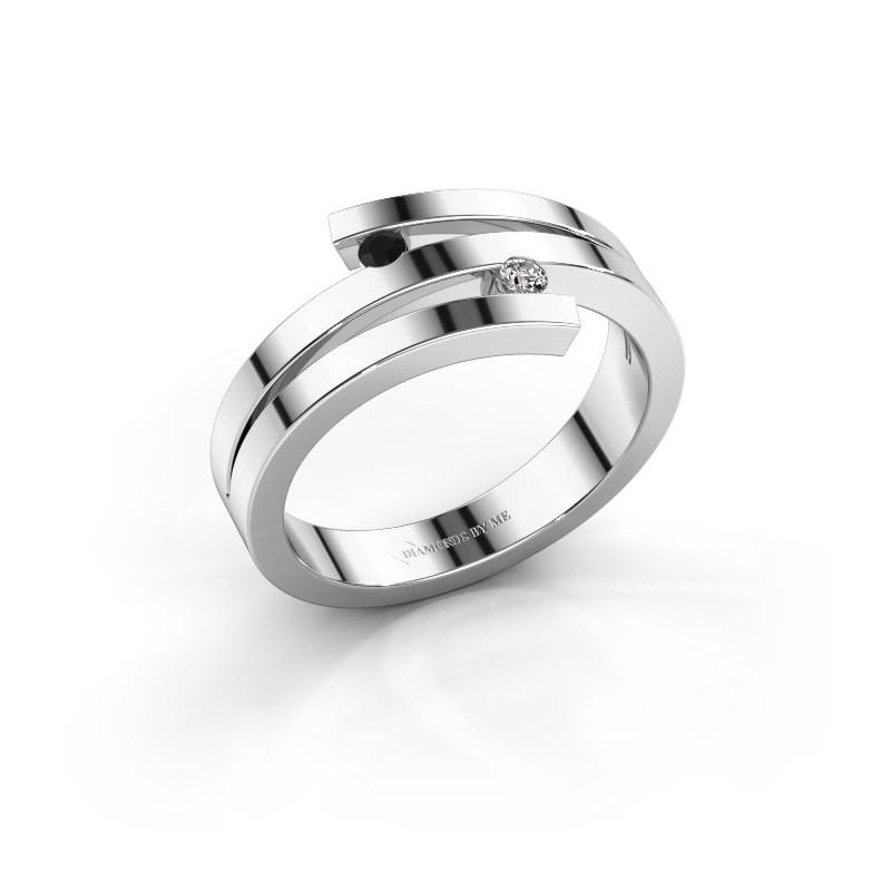 Ring Roxane 585 witgoud zwarte diamant 0.066 crt