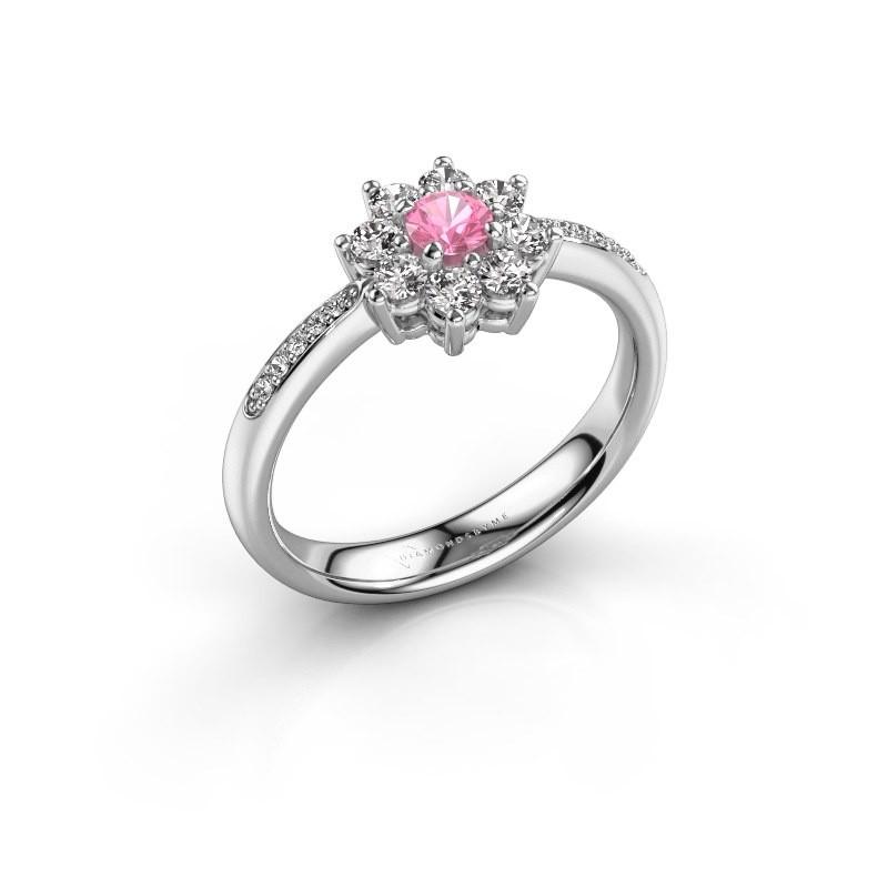 Verlovingsring Camille 2 950 platina roze saffier 3.4 mm