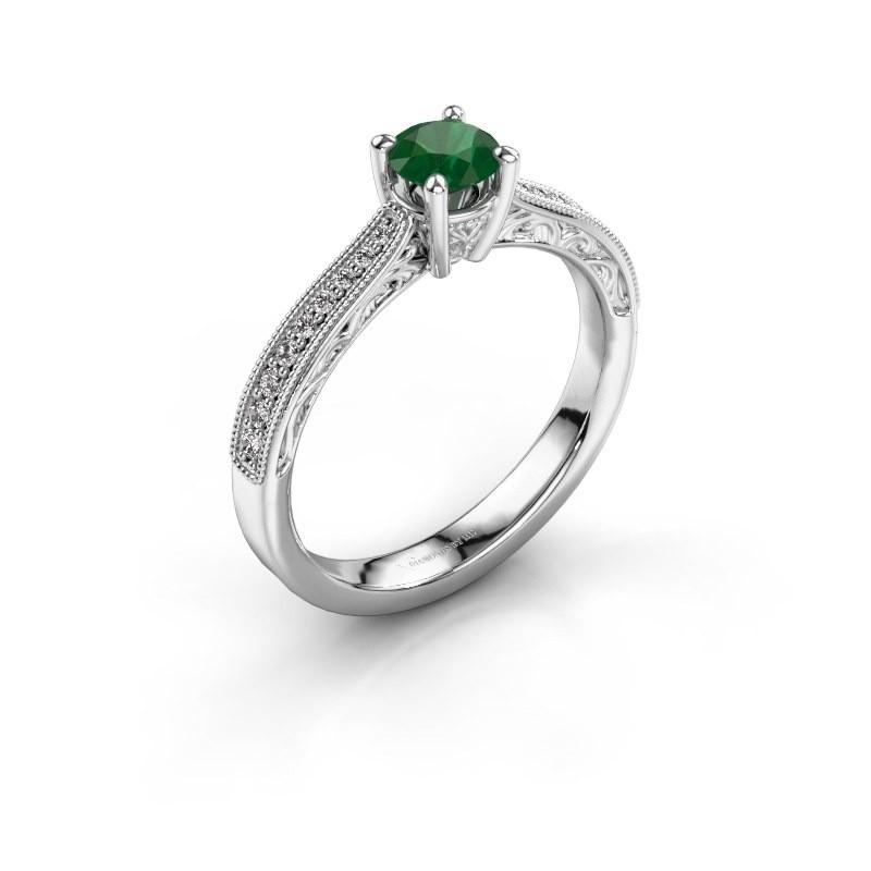 Belofte ring Shonta RND 950 platina smaragd 4.7 mm