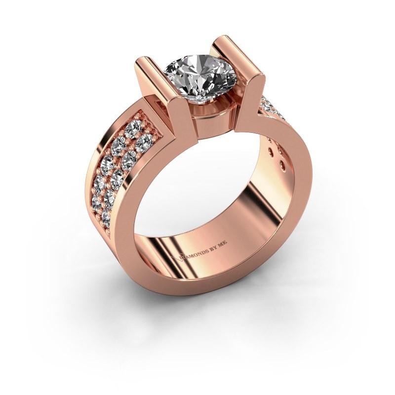 Verlovingsring Sofie 3 585 rosé goud diamant 1.00 crt