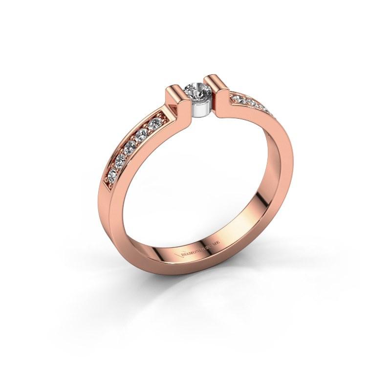 Engagement ring Isabel 2 585 rose gold diamond 0.08 crt