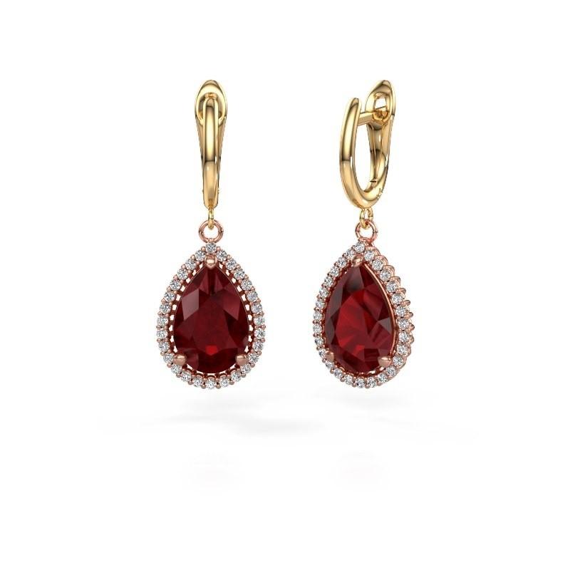 Drop earrings Hana 1 585 rose gold ruby 12x8 mm