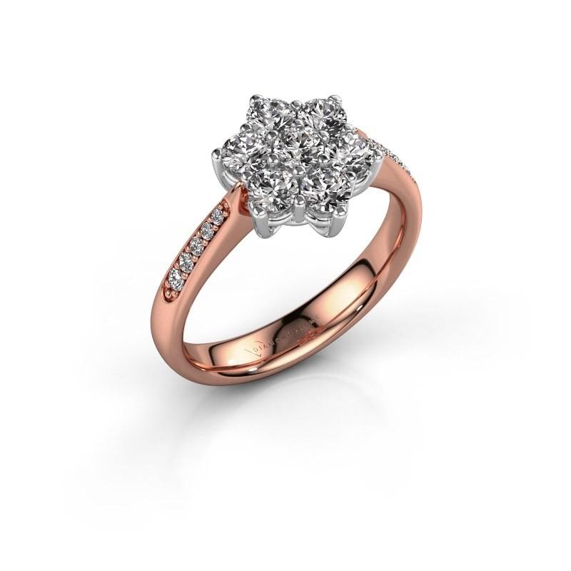 Verlovingsring Chantal 2 585 rosé goud diamant 0.10 crt