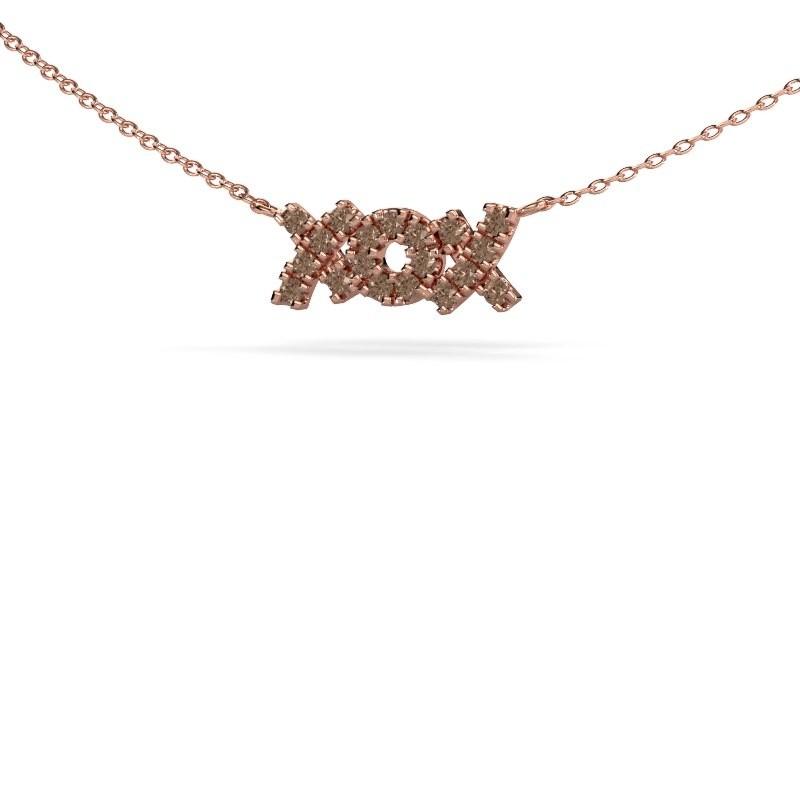 Ketting XoX 375 rosé goud bruine diamant 0.285 crt