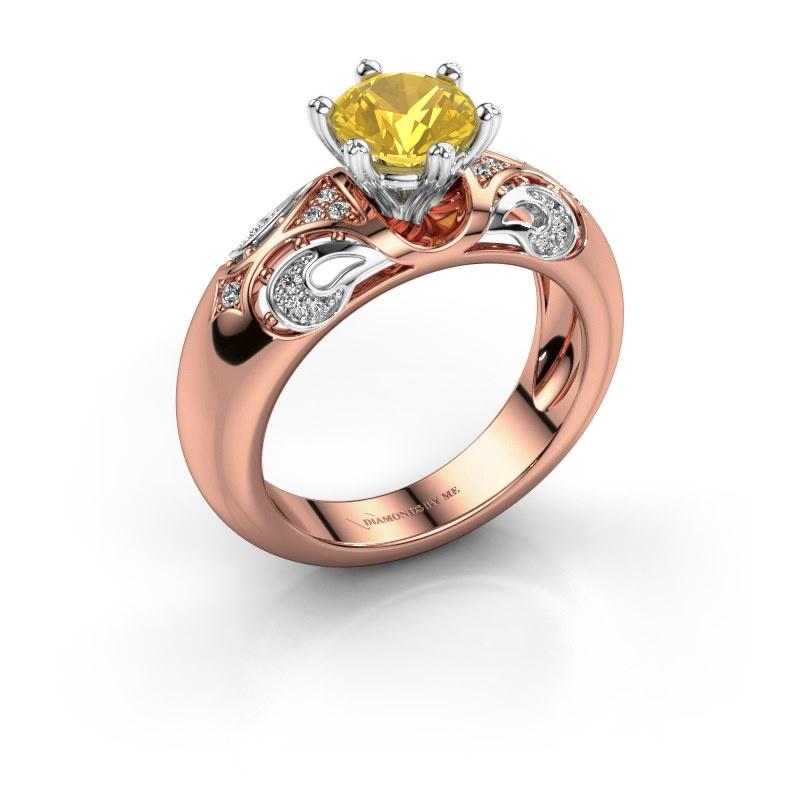 Ring Maya 585 rosé goud gele saffier 6.5 mm
