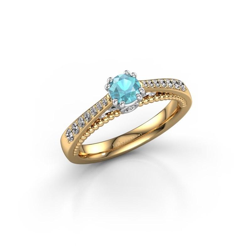 Verlovingsring Rozella 585 goud blauw topaas 4.2 mm