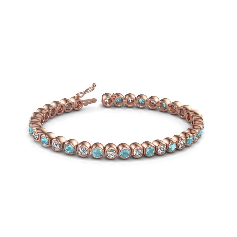 Tennis bracelet Bianca 375 rose gold blue topaz 4 mm