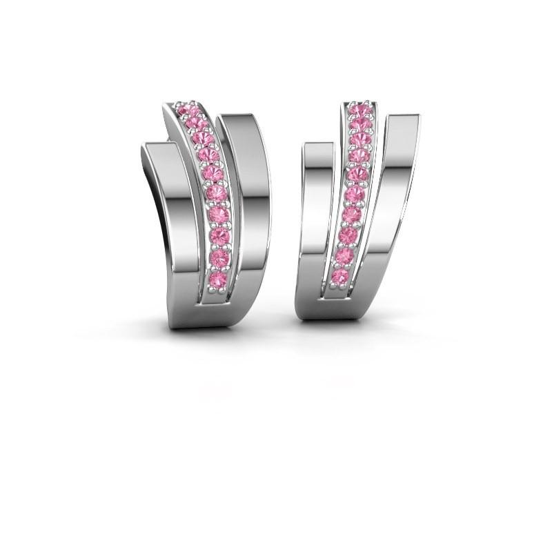 Oorbellen Emeline 925 zilver roze saffier 1.1 mm