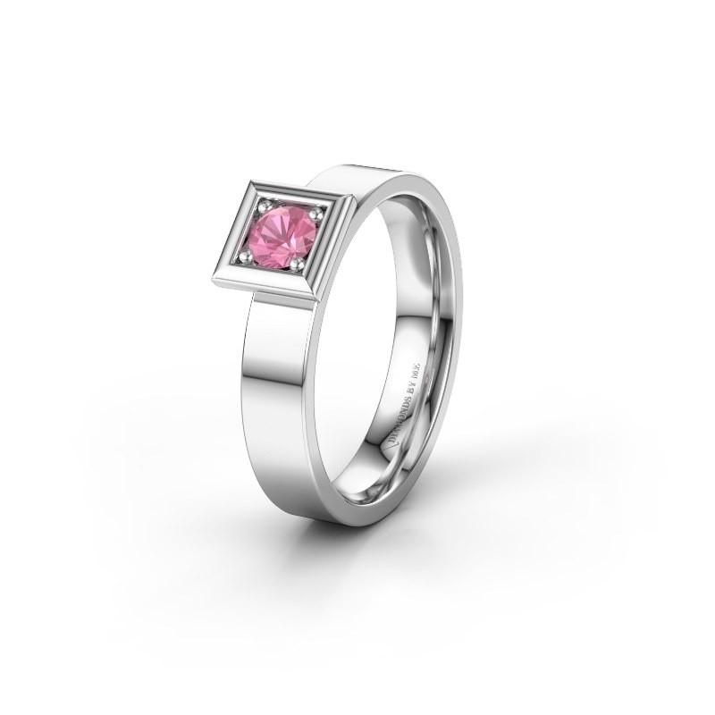 Trouwring WH2112L14A 585 witgoud roze saffier ±4x1.7 mm