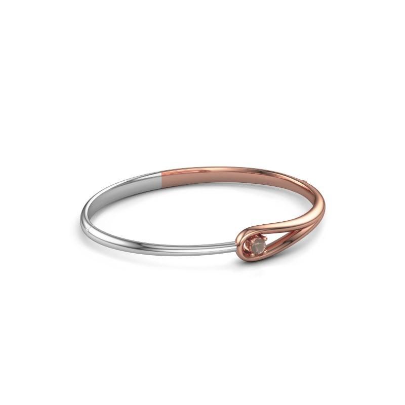 Slavenarmband Zara 585 rosé goud rookkwarts 4 mm