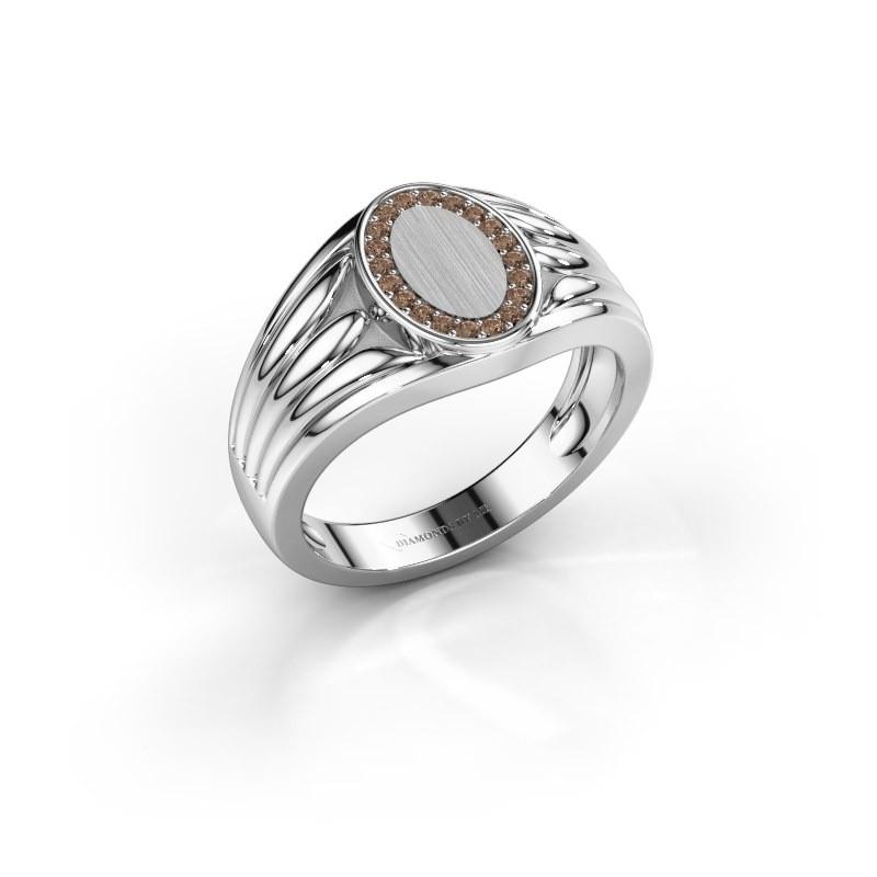 Pinkring Marinus 950 platina bruine diamant 0.15 crt