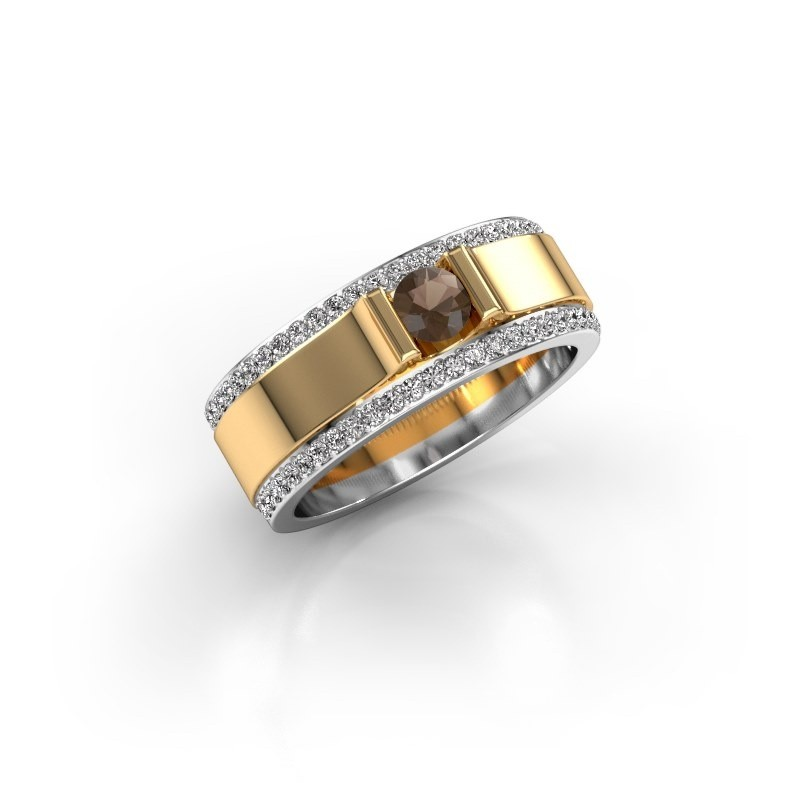 Men's ring Danillo 585 gold smokey quartz 4.2 mm