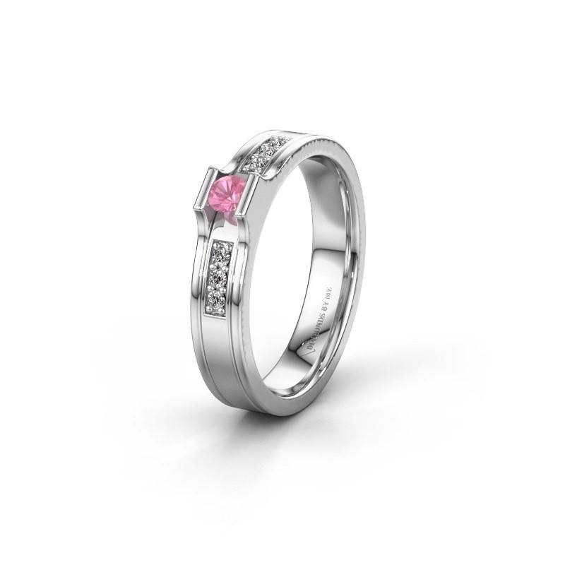 Trouwring WH2110L14A 950 platina roze saffier ±4x1.7 mm