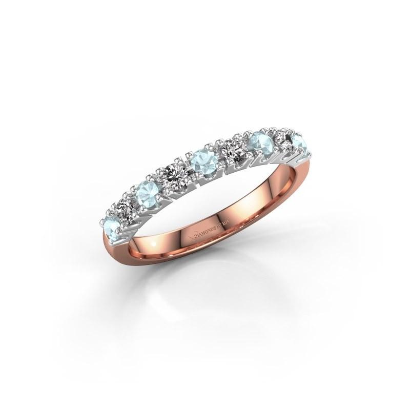 Engagement ring Rianne 9 585 rose gold aquamarine 2.4 mm