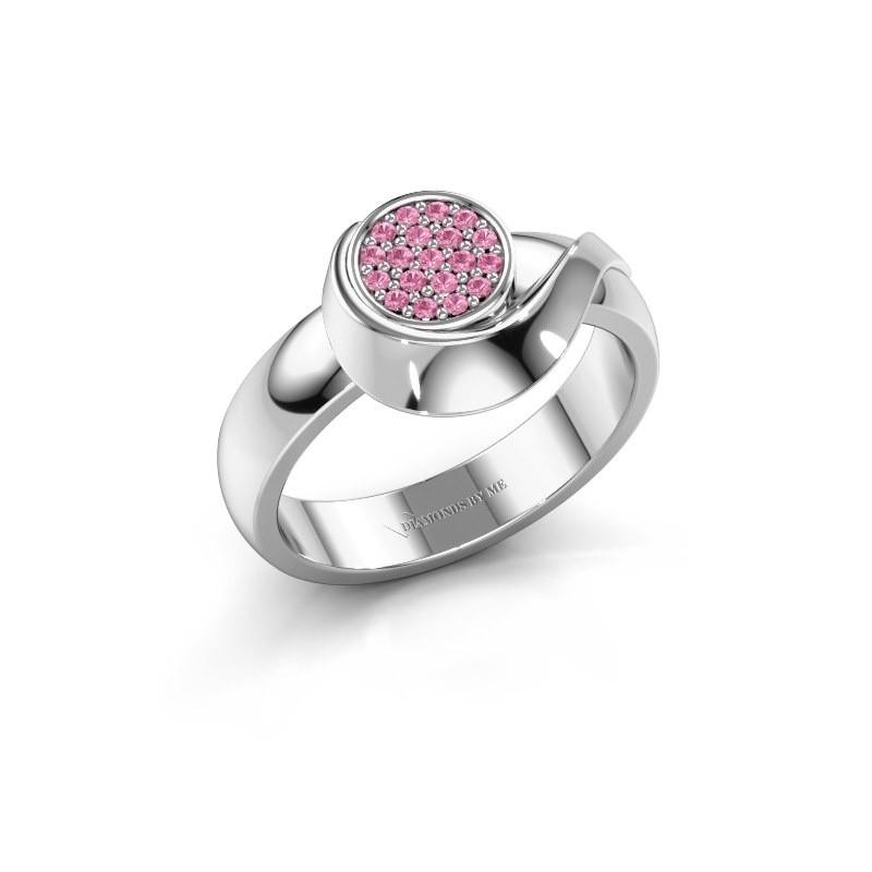 Ring Kimber 950 platina roze saffier 1 mm
