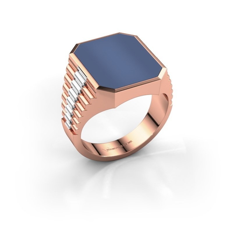 Rolex stijl ring Brent 4 585 rosé goud blauw lagensteen 16x13 mm