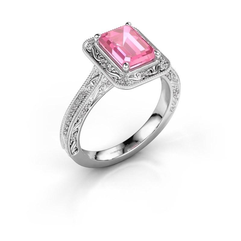 Verlovings ring Alice EME 950 platina roze saffier 7x5 mm