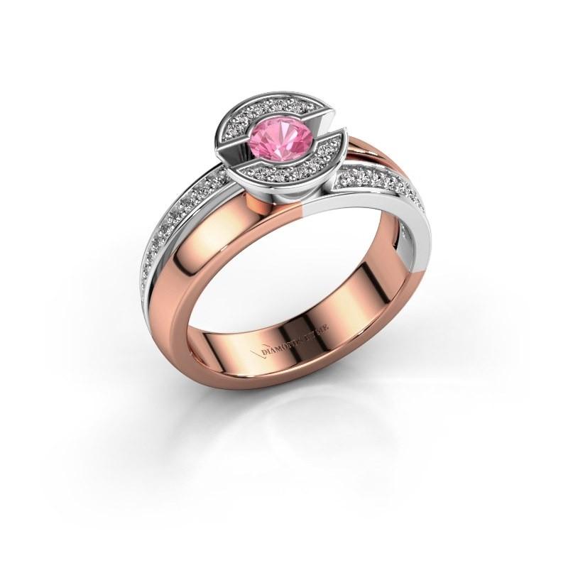 Ring Jeanet 2 585 rosé goud roze saffier 4 mm