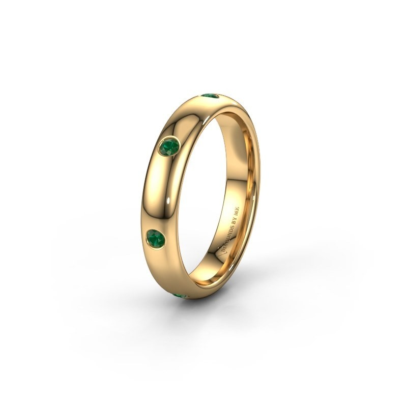 Wedding ring WH0105L34BP 375 gold emerald ±4x2 mm