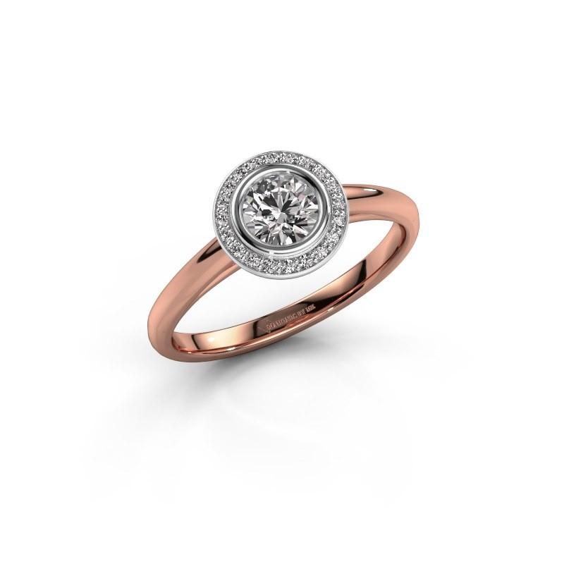 Promise ring Noud 1 RND 585 rose gold zirconia 4.7 mm