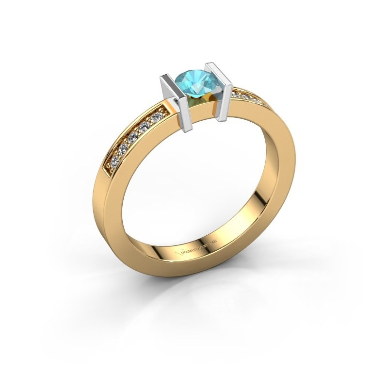 Engagement ring Maryam 585 gold blue topaz 4 mm