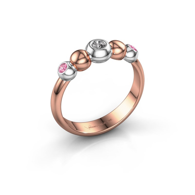 Stackable ring Lily 585 rose gold diamond 0.06 crt